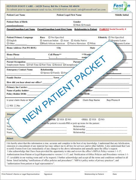 Fenton New Patient Packet 2017